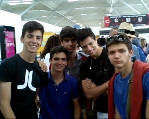 Five Italian students prepare to head home.