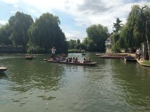 Relaxing in the punts on the River Cam.  What a lovely afternoon!
