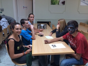 One group talking in the canteen (with a wolf!)